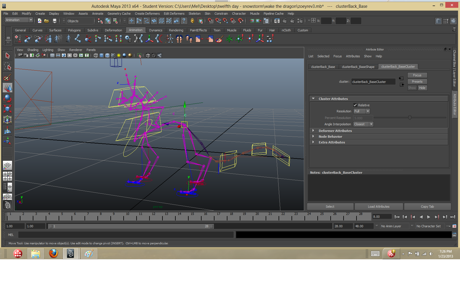 Rigging error on a long-necked creature    - Simply Maya