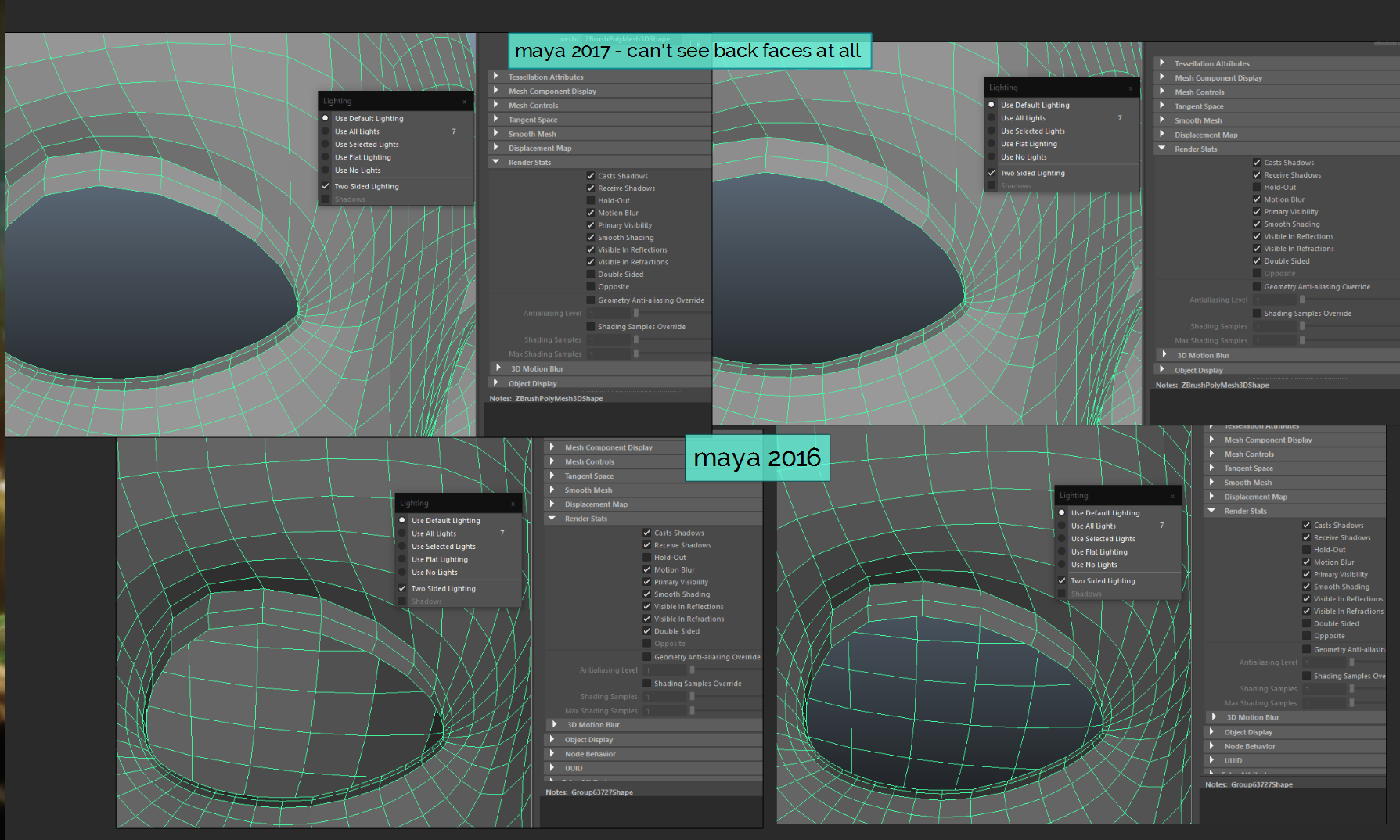 Back face polygons display issue - Simply Maya User Community